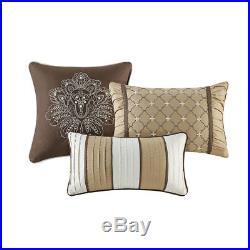 Beautiful Elegant Rich Luxury Gold Grey Brown Taupe Scroll Leaf Comforter Set