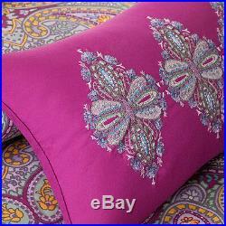 Beautiful Exotic Chic Grey Purple Teal Blue Aqua Bohemian Tropical Comforter Set