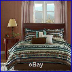 Beautiful Lodge Cabin Cozy Blue Brown Southwest Comforter Set King, Queen, Cal