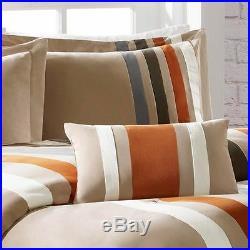 Beautiful Modern Beige Orange Blue Brown Green Soft 4pc Stripe Comforter Set New