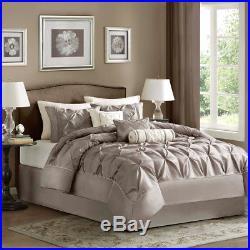 Beautiful Modern Beige Tan Taupe Ruffle Pintuck Comforter Set Queen & King Szs