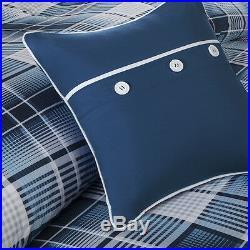 Beautiful Modern Blue Grey White Plaid Stripe Comforter Set Full Queen Twin XL