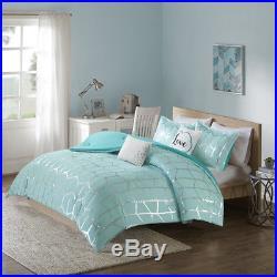 Beautiful Modern Chic Blue Aqua Grey Metallic Silver Comforter Set Full Queen