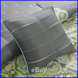 Beautiful Modern Chic Blue Aqua Teal Yellow Green Grey Tropical Comforter Set