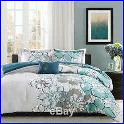 Beautiful Modern Chic Blue Green White Grey Flower Comforter Set Full Queen