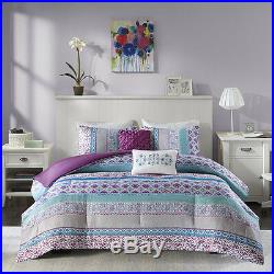 Beautiful Modern Chic Blue Purple Aqua Teal Bohemian Tropical Soft Comforter Set