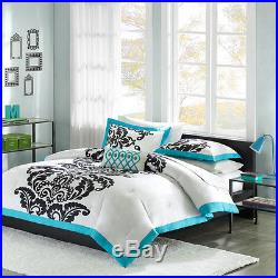 Beautiful Modern Chic Blue Teal Aqua White Black Scroll Girl Boys Comforter Set