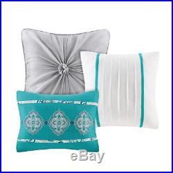 Beautiful Modern Chic Contemporary Aqua Blue White Grey Comforter Set & Pillows