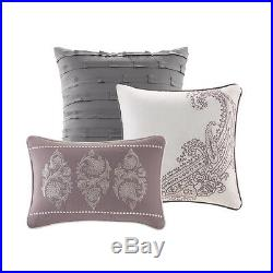 Beautiful Modern Chic Elegant Grey Light Purple Scroll Comforter Set & Pillows