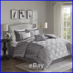Beautiful Modern Chic Elegant Grey Silver Pintuck Scroll Stripe Comforter Set