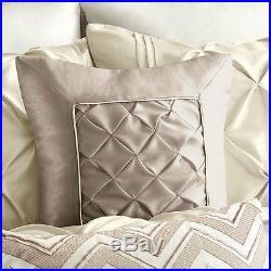 Beautiful Modern Chic Elegant Ivory White Taupe Ruffled Pintuck Comforter Set