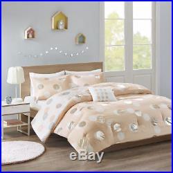 Beautiful Modern Chic Fun Pink Grey White Silver Dots Girls Soft Comforter Set