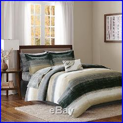 Beautiful Modern Chic Grey Black Taupe Bed In A Bag Comforter Set King & Queen