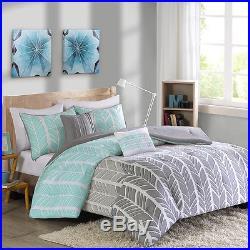 Beautiful Modern Chic Grey Blue Aqua Chevron Stripe Geometric Comforter Set