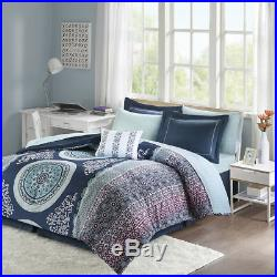 Beautiful Modern Chic Navy Blue Purple Aqua Teal Bohemian Comforter & Sheet Set