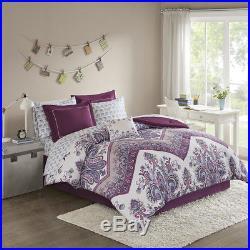 Beautiful Modern Chic Purple Blue Teal Aqua Bohemian Soft Comforter Set & Sheets