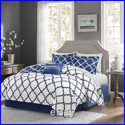 Beautiful Modern Chic Reversible Navy Blue White Comforter Set & Pillows Sheets