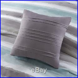 Beautiful Modern Chic Soft Light Blue Aqua White Grey Comforter Set Queen