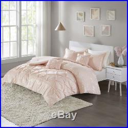 Beautiful Modern Chic Soft Pink Gold Ruffled Girls Comforter Set Full Queen Szs