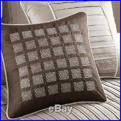 Beautiful Modern Chic Taupe Beige Tan Brown Ivory Texture Pintuck Comforter Set