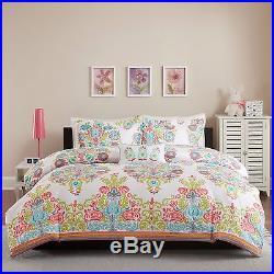 Beautiful Modern Chic Tropical Coral Teal Aqua Blue Green Bohemian Comforter Set