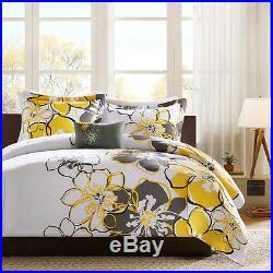 Beautiful Modern Chic White Yellow Grey Bright Comforter Set Full Queen Twin