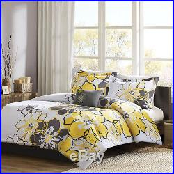 Beautiful Modern Chic Yellow Grey Black White Flower Floral Girl Comforter Set