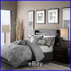 Beautiful Modern Elegant 7pc Luxury Chic Grey Silver Comforter Set & Pillows New