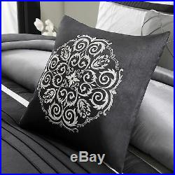 Beautiful Modern Elegant Black Silver Grey White Stripe Textured Comforter Set
