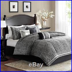 Beautiful Modern Elegant Black White Grey Comforter Set Cal, King & Queen Szs