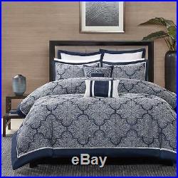 Beautiful Modern Elegant Blue Navy Silver Grey White Scroll Comforter Pillow Set