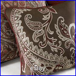Beautiful Modern Elegant Burgundy Deep Red Brown White Grey Scroll Comforter Set