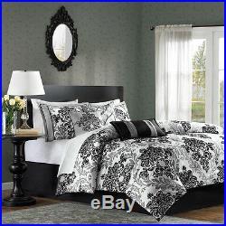 Beautiful Modern Elegant Chic Black Grey Comforter Set & Pillows King & Queen