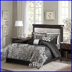 Beautiful Modern Elegant Chic Black Silver Grey Scroll Textured Comforter Set