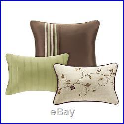 Beautiful Modern Elegant Ivory White Green Brown Texture Leaf Vine Comforter Set