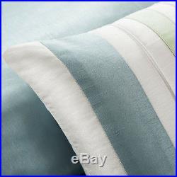 Beautiful Modern Elegant Light Blue White Sage Green Beach Stripe Comforter Set