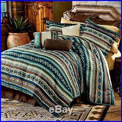 Beautiful Modern Lodge Cabin Southwest Blue Teal Brown Grey Stripe Comforter Set