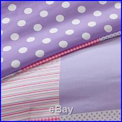 Beautiful Modern Pink Purple Polka Dot Dance Girls Soft Comforter Set & Pillow