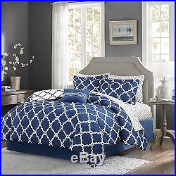 Beautiful Modern Reversible Bed In A Bag Grey Blue White Comforter Set & Sheets