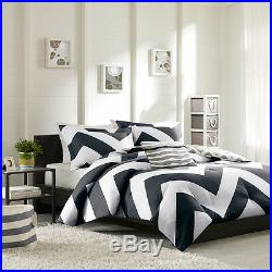 Beautiful Modern Reversible Black Grey White Stripe Sport Chevron Comforter Set