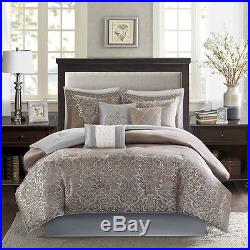 Beautiful Modern Rich Elegant Blue Brown Grey Scroll Comforter Set Queen & King