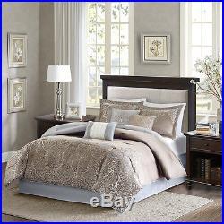 Beautiful Modern Rich Elegant Blue Grey Taupe Silver Gold Brown Comforter Set