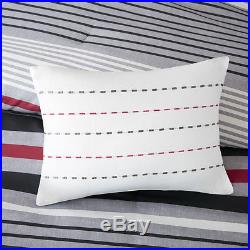 Beautiful Modern Sporty Grey Red Black White Stripe Boys Comforter Set & Pillows