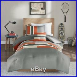 Beautiful Modern Sporty Orange Grey Block Stripe Boys Soft Comforter Set
