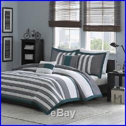 Beautiful Modern Teal Blue White Grey Stripe Soft Comforter Set & 2 Pillows
