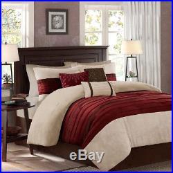 Beautiful Modern Ultra Soft Deep Red Brown Beige Pintuck Scroll Comforter Set