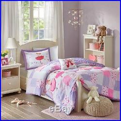 Beautiful Pink Purple Dancing Ballerina Polka Dot Comforter Set Full Queen Twin