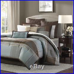 Beautiful Rich & Elegant Brown Blue Grey Comforter Set 8 Pc Queen Cal, & King
