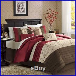 Beautiful Rich & Elegant Red Brown Beige Comforter Set 7 Pc Queen Or King & Cal