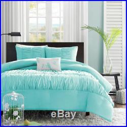 Beautiful Soft Aqua Blue Teal Pinch Tufted Ruched Ruffled Girls Comforter Set